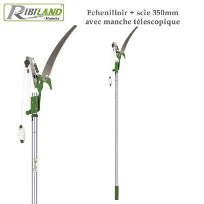 Echenilloir + scie 350 mm manche télescopique