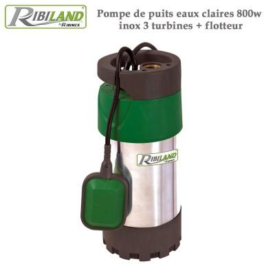 Pompe de puits eaux claires 800w inox 3 turbines + flotteur