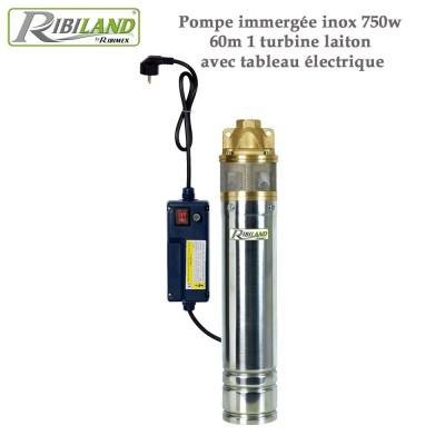 Pompe immergée inox 750w, 60m 1 turbine laiton - tableau élec.