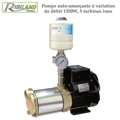 Pompe auto-amorçante à variation de débit 1350W, 5 turbines inox
