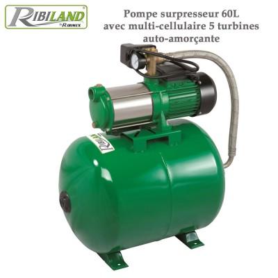 Pompe surpresseur 60L avec multi-cellulaire 5 turbines auto-amorçante