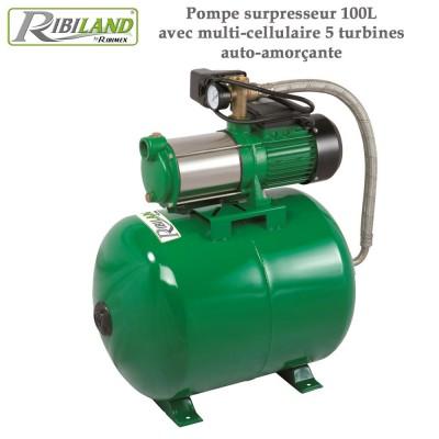 Pompe surpresseur 100L avec multi-cellulaire 5 turbines auto-amorçante