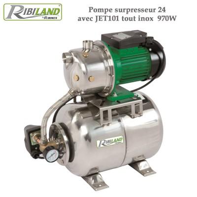 Pompe surpresseur 24L avec JET101 tout inox  970W