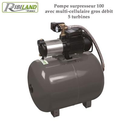Pompe surpresseur 100L avec multi-cellulaire gros débit 5 turbines