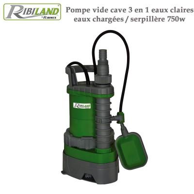Pompe vide cave 3 en 1 eaux claires - eaux chargées - serpillère 750w