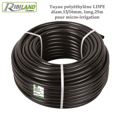 Tuyau polyéthylène LDPE diam.13/16mm, long.25m - micro-irrigation