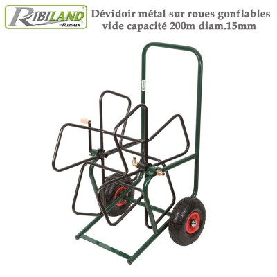 Dévidoir métal sur roues gonflables vide