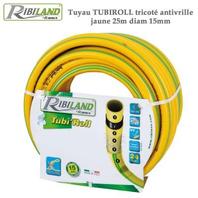 Tuyau d'arrosage Tubiroll tricoté antivrille jaune 25m diam 15mm
