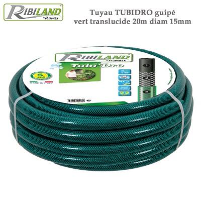 Tuyau Tubidro guipé vert translucide 20m diam 15mm