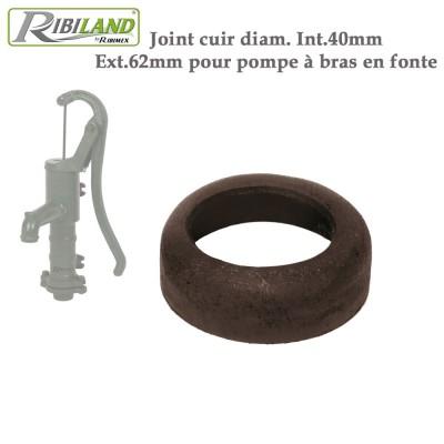 Joint cuir diam. Int.40mm, Ext.62mm pour pompe à bras en fonte