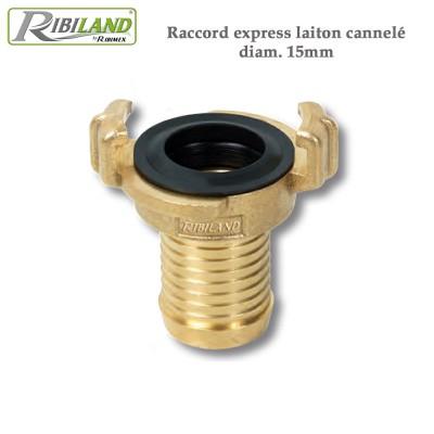 Raccord express laiton cannelé diam. 15mm - 3 pièces