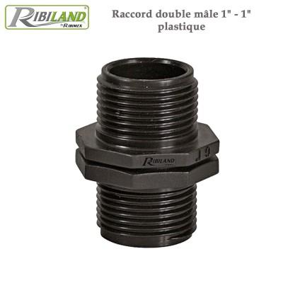 """Raccord double mâle 1"""" - 1"""" plastique - 3 pièces"""