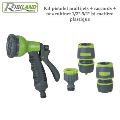 """Kit pistolet multi-jets + raccords + nez robinet 1/2""""-3/4"""" bi-matière plastique"""
