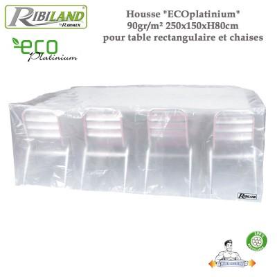 Housse table rect. et chaises 90gr/m² - 250 x 150 x H 80 cmm