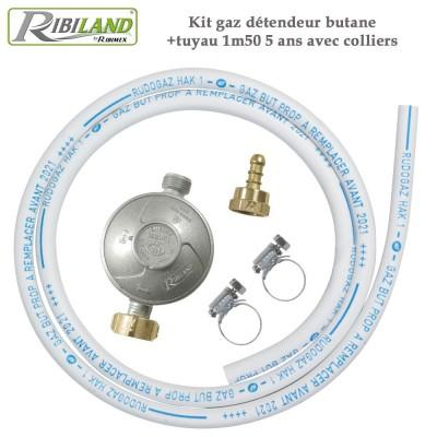 Kit gaz détendeur butane +tuyau 1m50 - 5 ans avec colliers