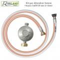 Kit gaz détendeur butane + tuyau 1m50 - 10 ans à visser