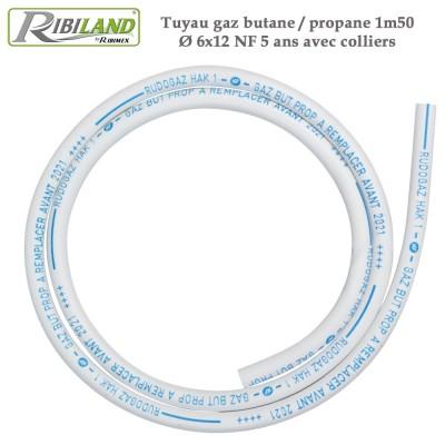 Tuyau gaz butane / propane 1m50 Dia. 6x12 NF - 5 ans avec colliers