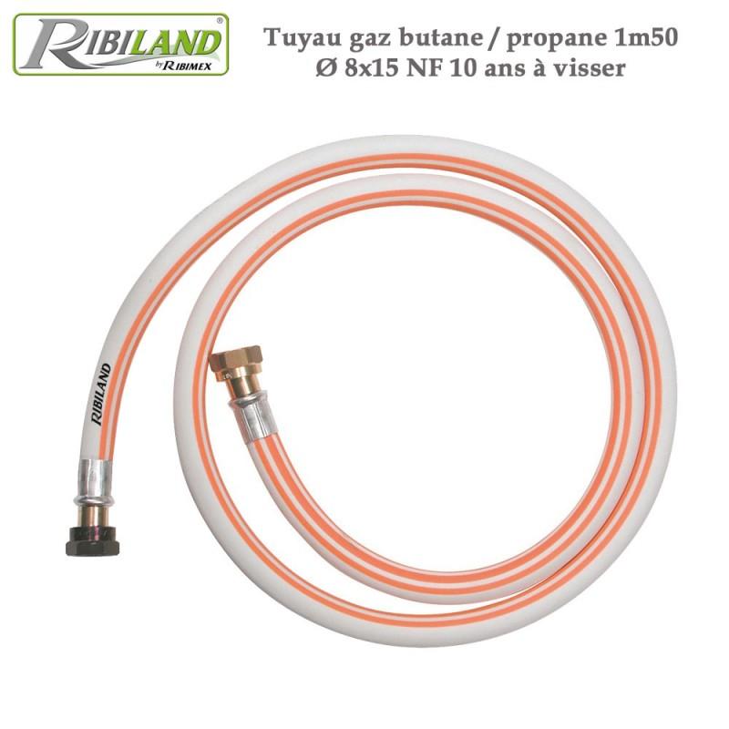 Tuyau gaz butane / propane 1m50 Dia. 8x15 NF - 10 ans à visser