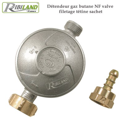 Détendeur gaz butane NF valve / filetage tétine