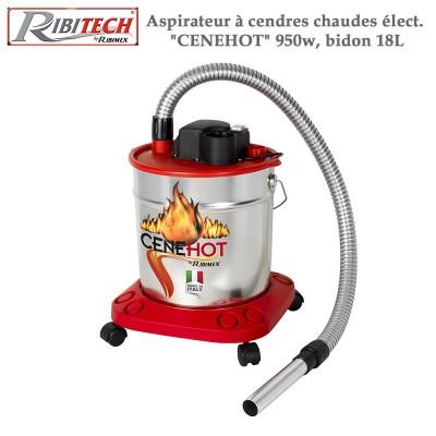 Aspirateur à cendres chaudes électrique Cenehot 950w, bidon 18L