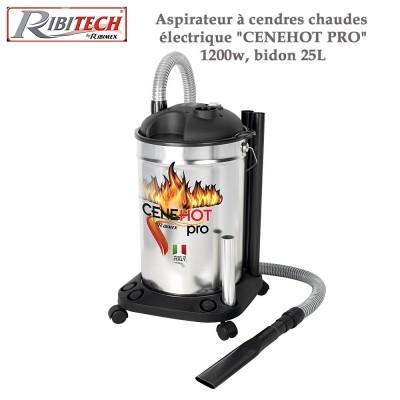 Aspirateur à cendres chaudes électrique Cenehot Pro 1200w, bidon 25L