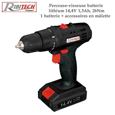 Perceuse-visseuse batterie lithium 14,4V, 1,3Ah, 26Nm