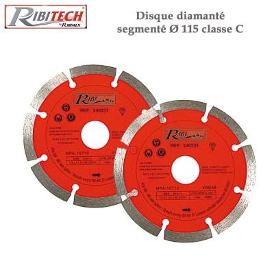 Disque diamanté segmenté Dia 115 classe C - 2 disques