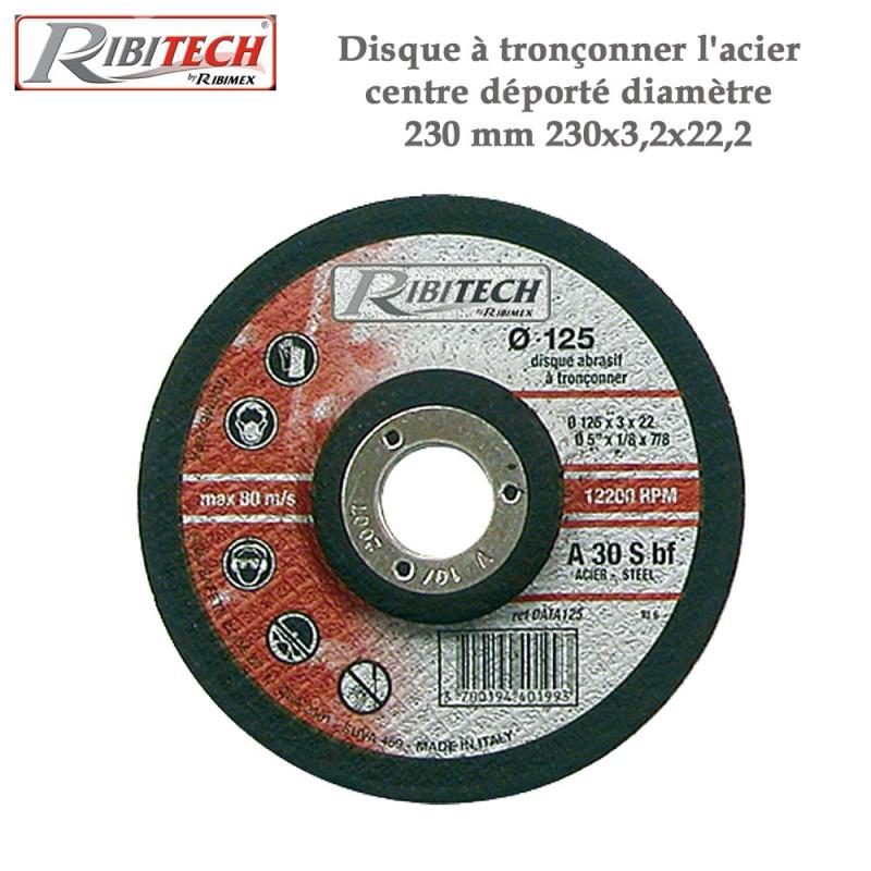 Disque à tronçonner l'acier centre déporté diamètre 230 mm - 2 Pces