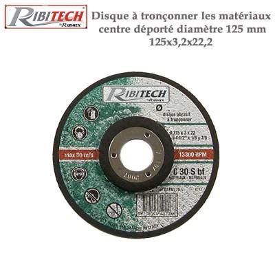 Disque à tronçonner les matériaux centre déporté diamètre 125 mm