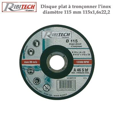 Disque plat à tronçonner l'inox diamètre 115 mm