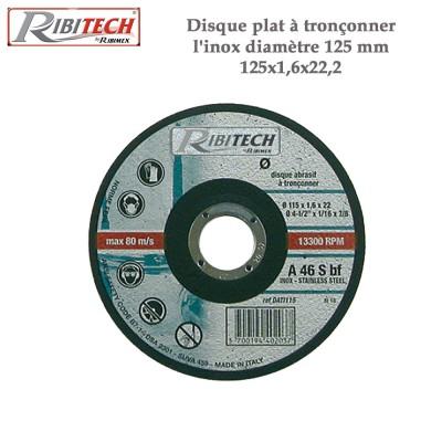 Disque plat à tronçonner l'inox diamètre 125 mm - 2 Pces