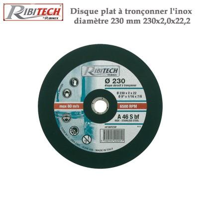 Disque plat à tronçonner l'inox diamètre 230 mm - 2 Pces