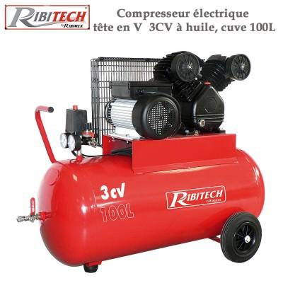 Compresseur électrique tête en V  3CV à huile, cuve 100L