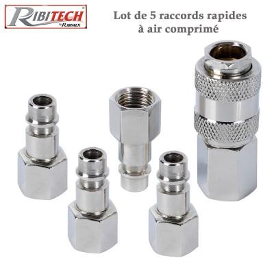 Kit raccords rapides air comprimé - 5 Pces