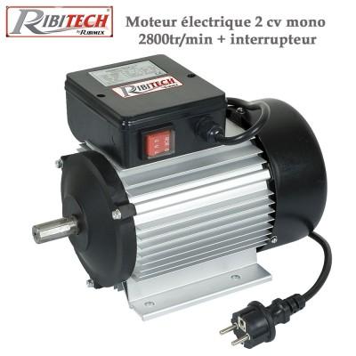Moteur électrique 2 cv mono 2800tr/min + interrupteur