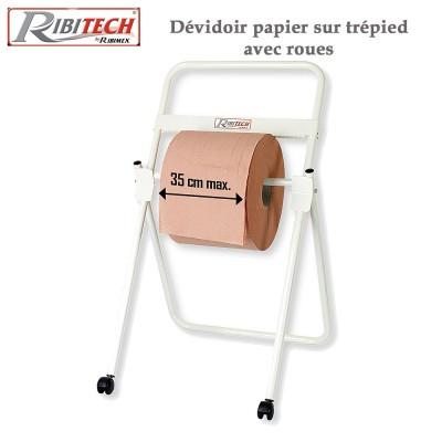 Dévidoir papier pour atelier sur trépied avec roues