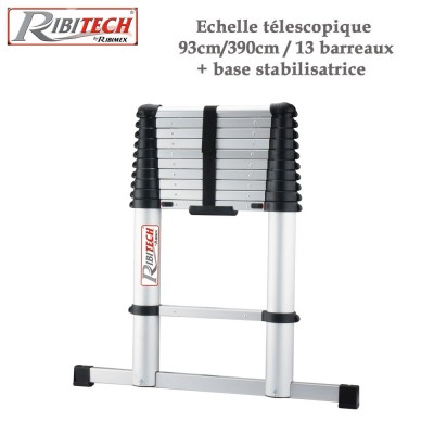 Echelle télescopique aluminium 13 barreaux + base stabilisatrice