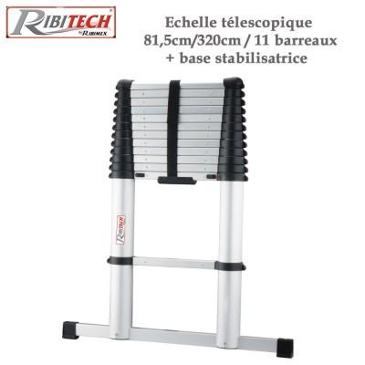 Echelle télescopique aluminium 11 barreaux + base stabilisatrice