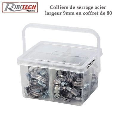 Colliers de serrage acier larg. 9 mm - 80 pièces