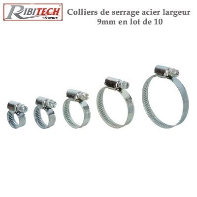 Colliers de serrage acier larg. 9 mm - 10 pieces