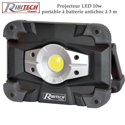 Projecteur Led 10w, portable à batterie antichoc à 3 m