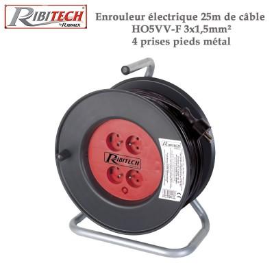 Enrouleur électrique 25m de câble HO5VV-F 3x1,5mm²