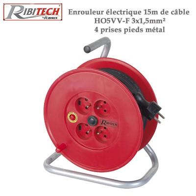 Enrouleur électrique 15m de câble HO5VV-F 3x1,5mm²