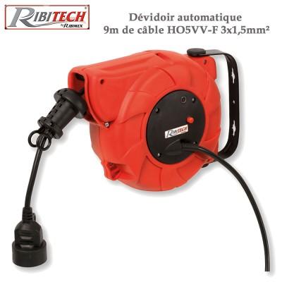 Dévidoir automatique 9 m de câble HO5VV-F 3x1,5mm²