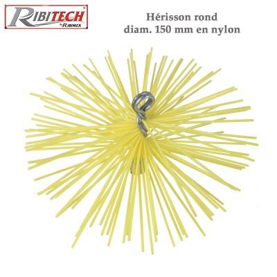 Herisson ramonage 150 mm nylon pour cheminées tubées