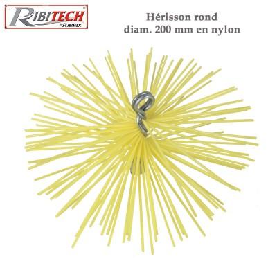 Herisson ramonage 200 mm nylon pour cheminées tubées