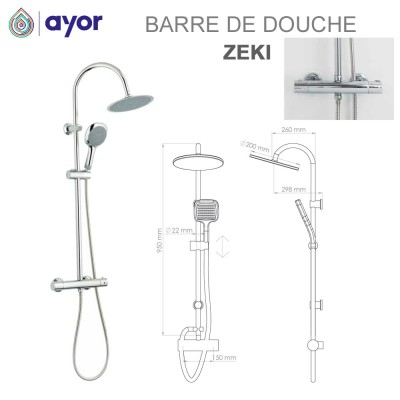 Barre de douche thermostatique Zeki