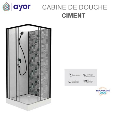 Cabine de douche Ciment 100x80 cm - 90x90 cm