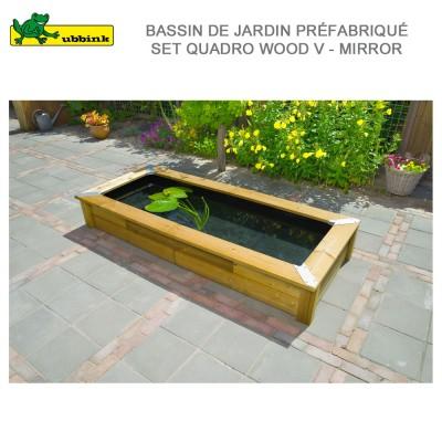 Bassin de jardin complet set Quadro Wood V - Mirror