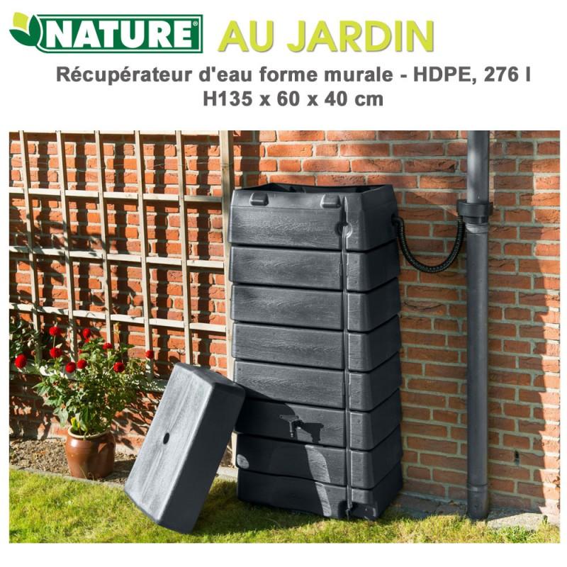 Récupérateur d'eau de pluie murale gris - 320 L